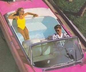 car, pink, and pool image