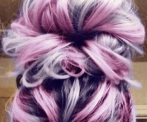 hair, purple, and bun image