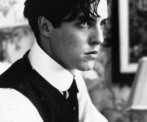 hugh grant, black and white, and young image