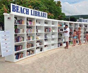 beach, book, and library image