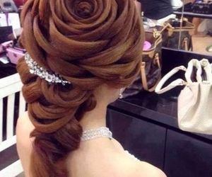 hair, rose, and hairstyle image
