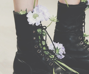 flowers, boots, and grunge image