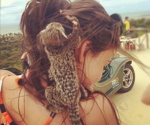 girl, animal, and car image