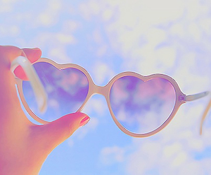 sky, heart, and sunglasses image