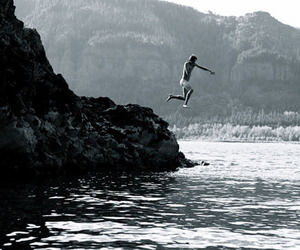 jump, mountains, and ocean image