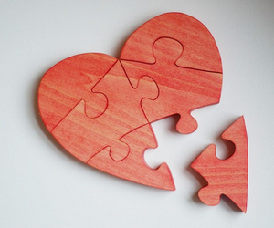 heart, puzzle, and red image