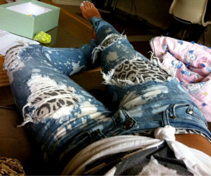 jeans, fashion, and leopard image