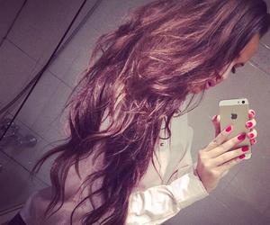hair, iphone, and long hair image