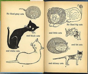 cat, book, and drawing image