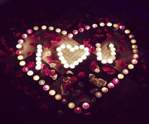 love, rose, and candle image