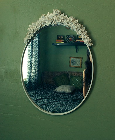 green, mirror, and vintage image