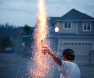 fireworks, boy, and fire image