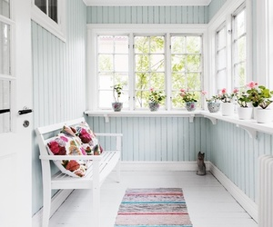 bench, white, and floor image