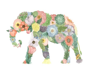 cool, elephant, and flower image