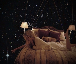 girl, stars, and bed image