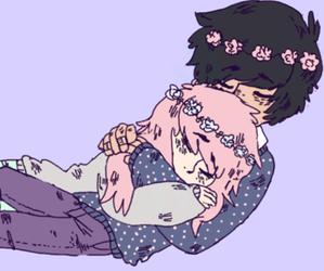 draw, emo, and hug image