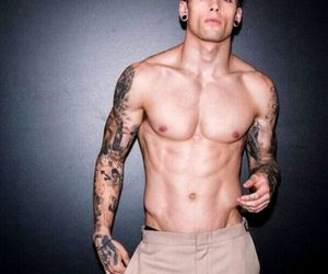 abs, guys with tattoos, and hot guys image