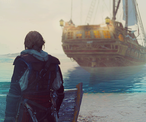 black flag, sea, and ship image