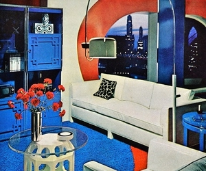 70's, blue, and interior image