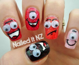 monsters, nail art, and monster nail art image