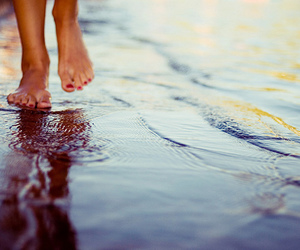 water, feet, and beach image