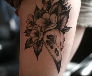 crow, flowers, and tattoo image