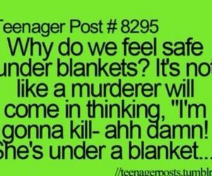 teenager post, blanket, and funny image
