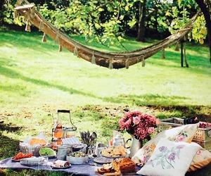 picnic, nature, and hammock image