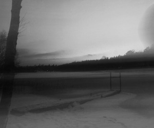 black and white, lake, and bridge image
