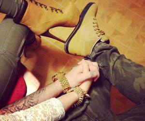 heels, pumps, and tattoo image