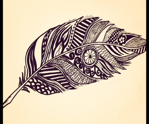 black ink, draw, and feather image