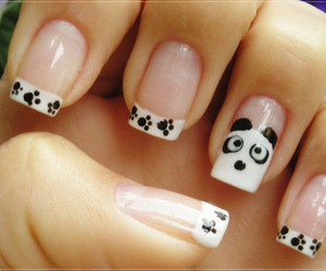 nails, panda, and white image