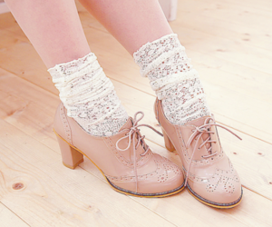 crochet, lace, and oxford shoes image