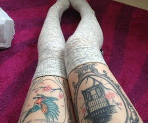 tattoo, legs, and bird image