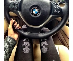 black, bmw, and leggings image