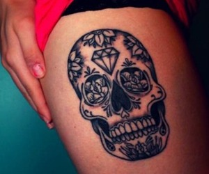 tattoo, skull, and diamond image