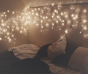bed, cozy, and lights image