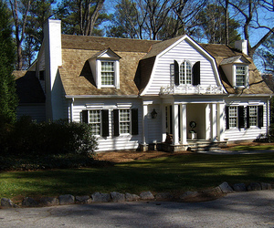 architecture, colonial house, and high home building image