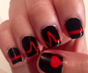 heartbeat, nail art, and nails image