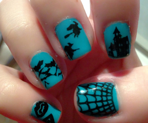 bats, glow in the dark, and nail art image