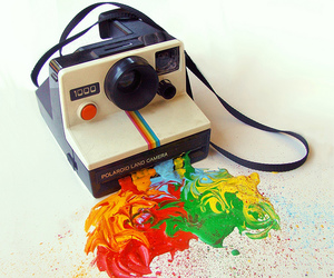 polaroid, camera, and colors image