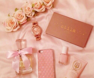 pink, perfume, and flowers image