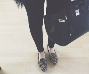 fake fur, panther print, and loafers image