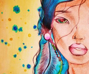 blue hair, watercolor, and feather image