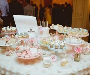 bridal, cake, and cupcakes image