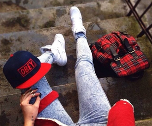 girl, jeans, and obey image