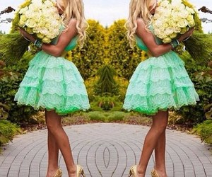 dress, flowers, and green image