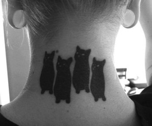 tattoo, cat, and black and white image