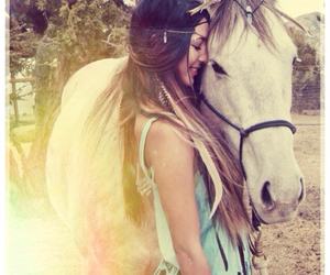 forest, horse, and girl image