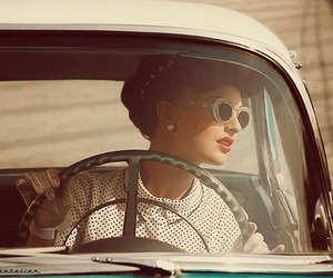 car, vintage, and girl image